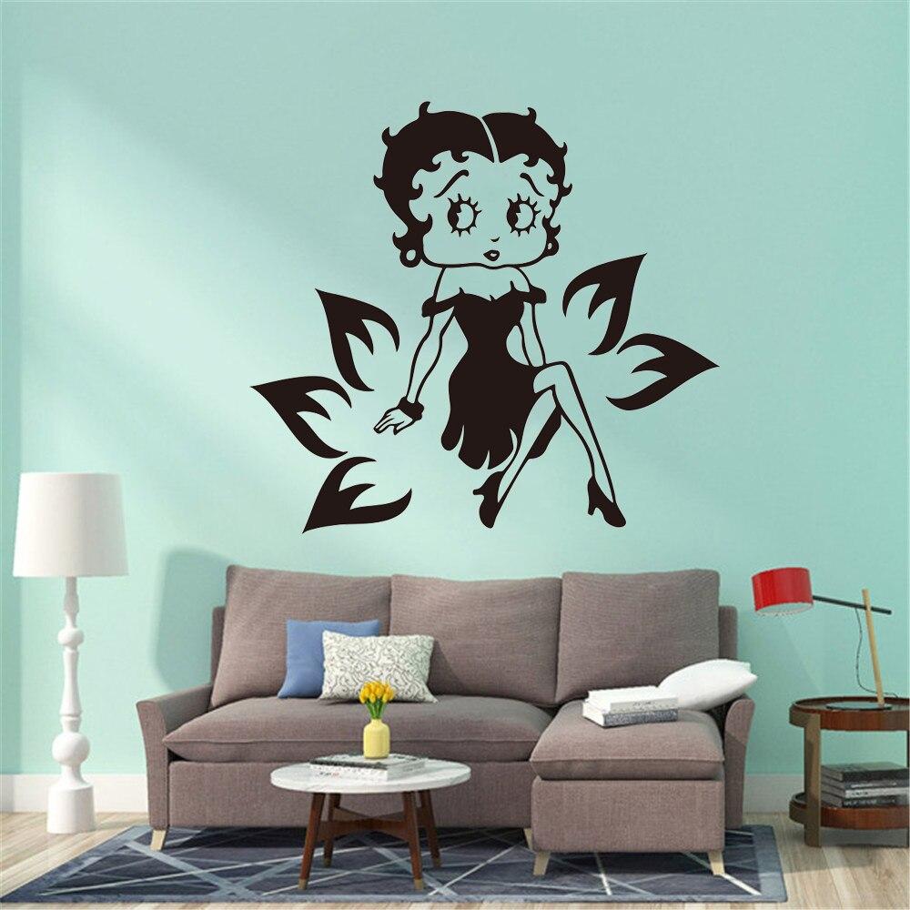 Betty Boop Wall Sticker Girls Lips Kiss Teenagers Bedroom Vinyl Wall Art Decal