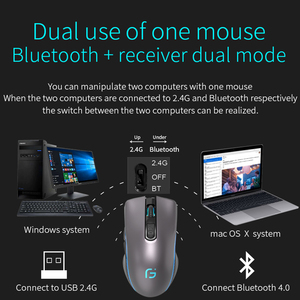 Image 5 - Rechargeable Computer Mouse Dual Mode Bluetooth 4.0 +2.4Ghz Wireless Mause 2400DPI Optical Gaming Mouse Gamer Mice for PC Laptop