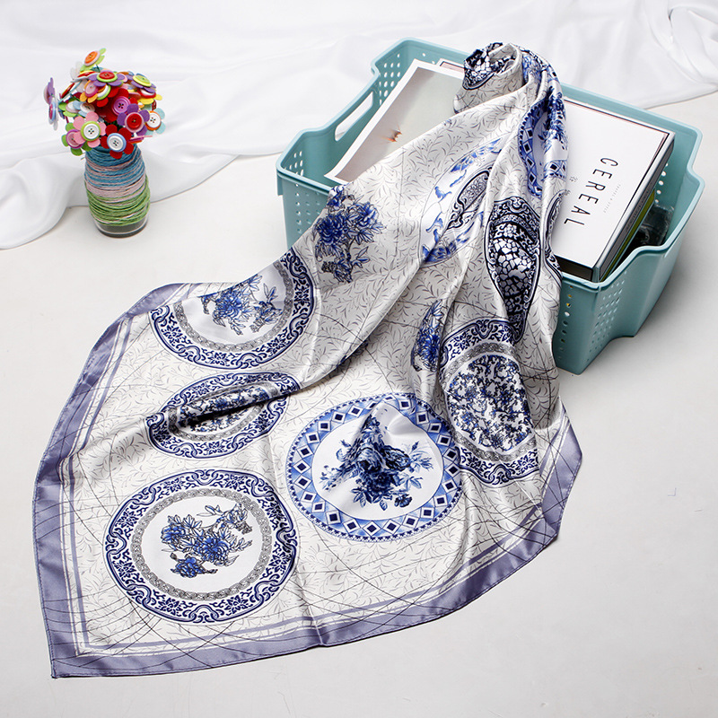 Fashion Hijab Scarf For Women Bandana For Head Silk Satin Hair Scarfs Female 90*90cm Square Shawls Wraps Neck Scarves For Ladies|Women