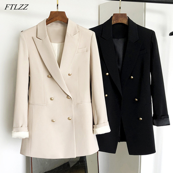 FTLZZ New Spring Autumn Office Ladies Notched Collar Double Breasted Blazer Vintage Women Long Sleeve Solid Blazer 1