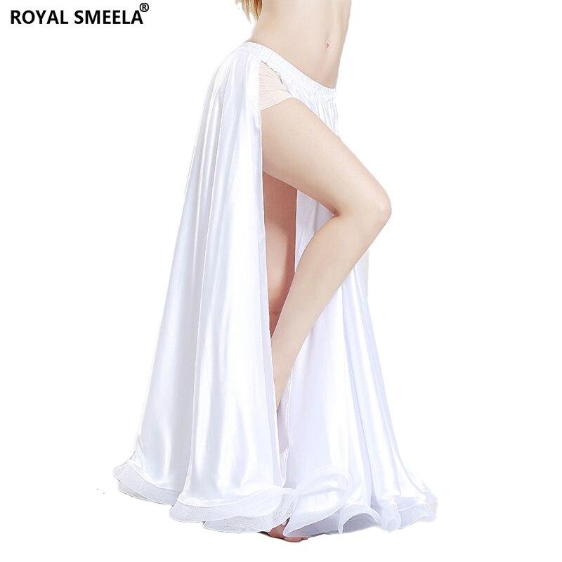 Professional Belly Dance Skirts Women Floor-Length One Slit Dance Satin Skirt Belly Dance Costumes Performance White Skirt