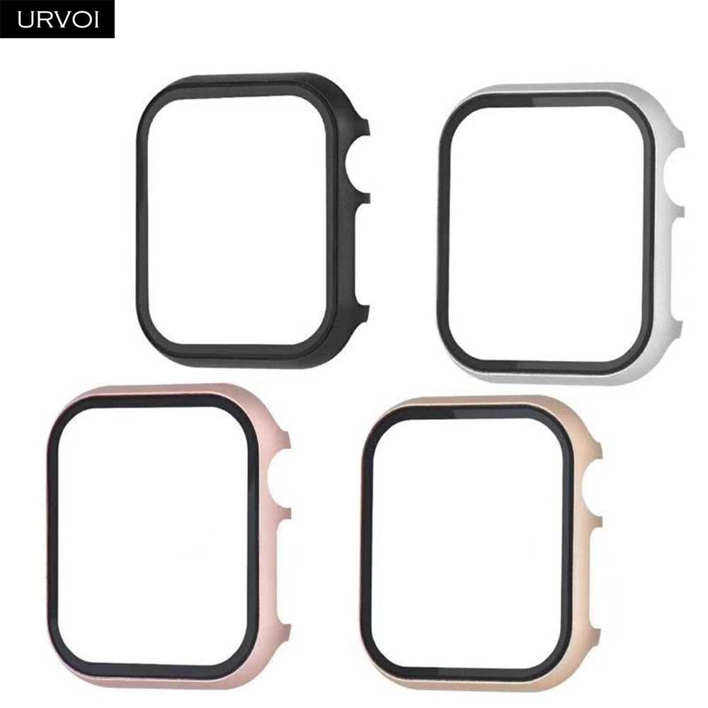 URVOI metal case for apple watch series 5 4 3 2 1 cover with tempered glass for iwatch 40mm 44mm hard frame aluminium bumper
