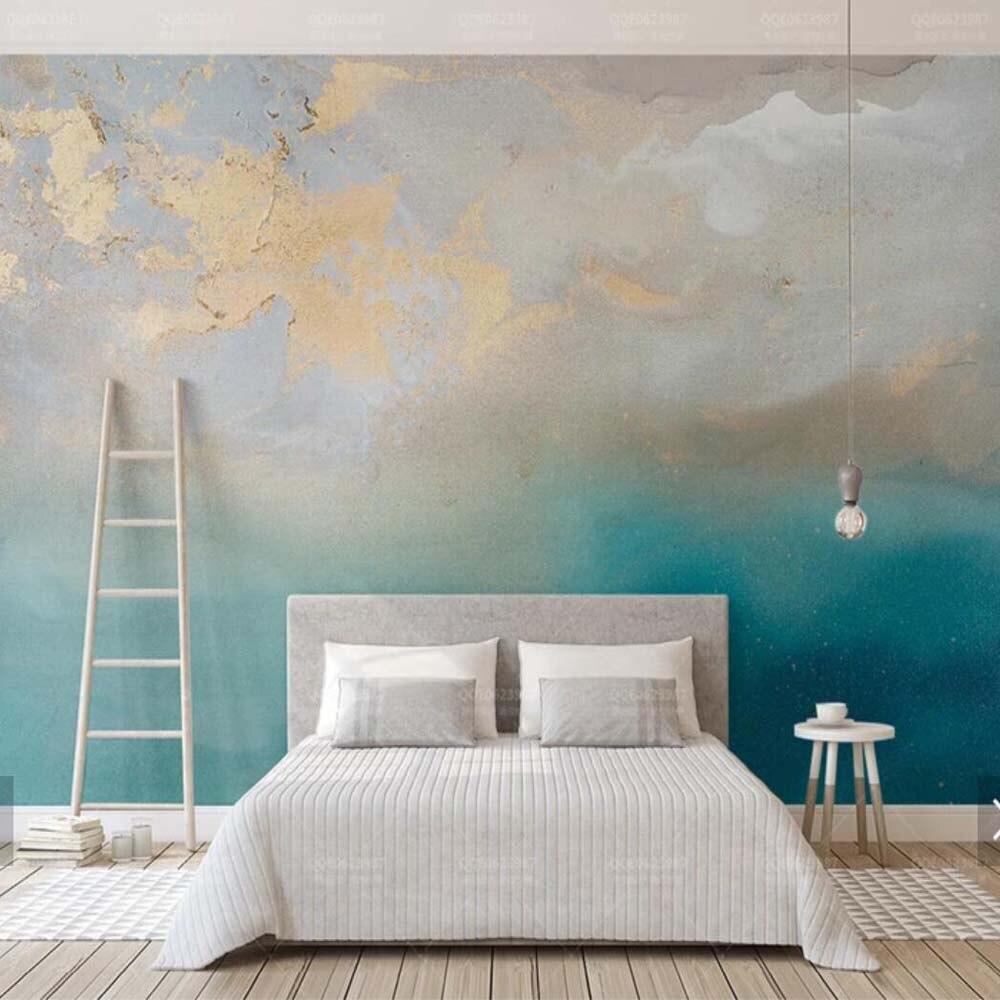 Livraison directe abstraite bleu mer peinture à l'huile or Murales 3 d Photo papier peint maison décoration murale peintures Murales toile murale 3d dédouanement