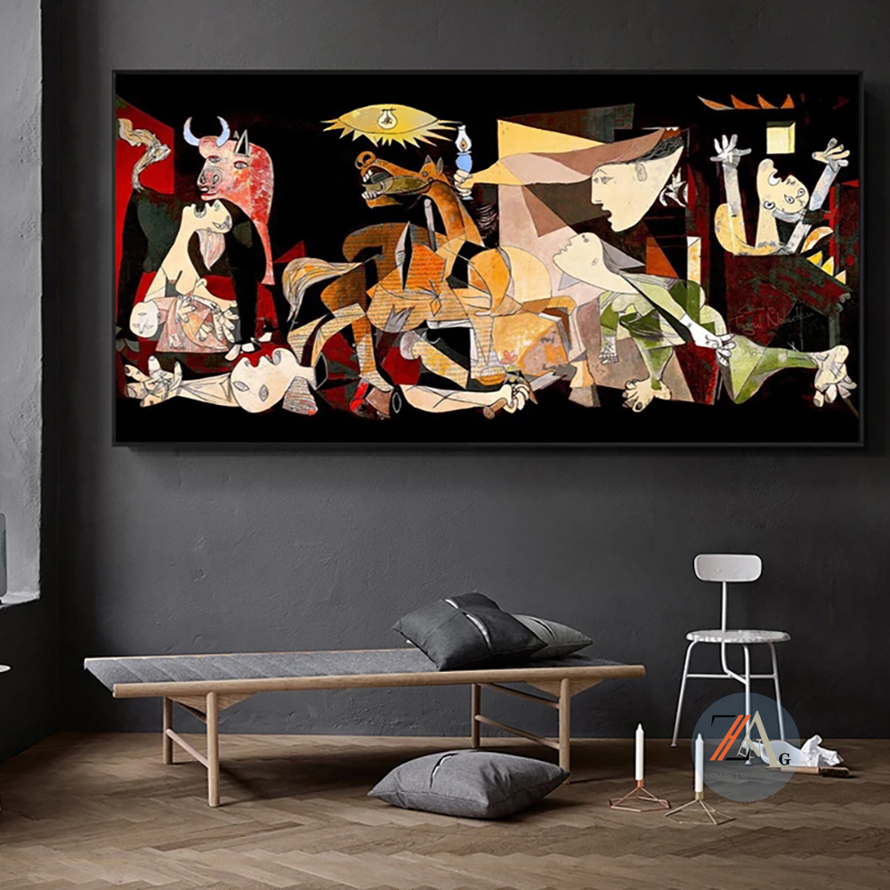 Famous Picasso Guernica Art Canvas Painting Abstract Poster and Prints Wall Art Pictures for Living Room Home Cuadros Decoration