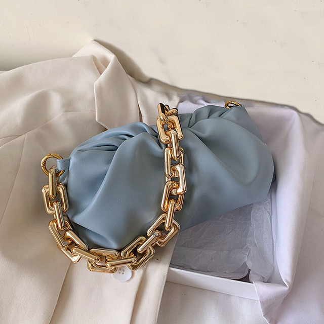 Luxury Thick Gold Chains Cloud Bags for Women 2021 Fashion Soft Leather Women's Designer Handbags Trend Crossbody Shoulder Bag 1