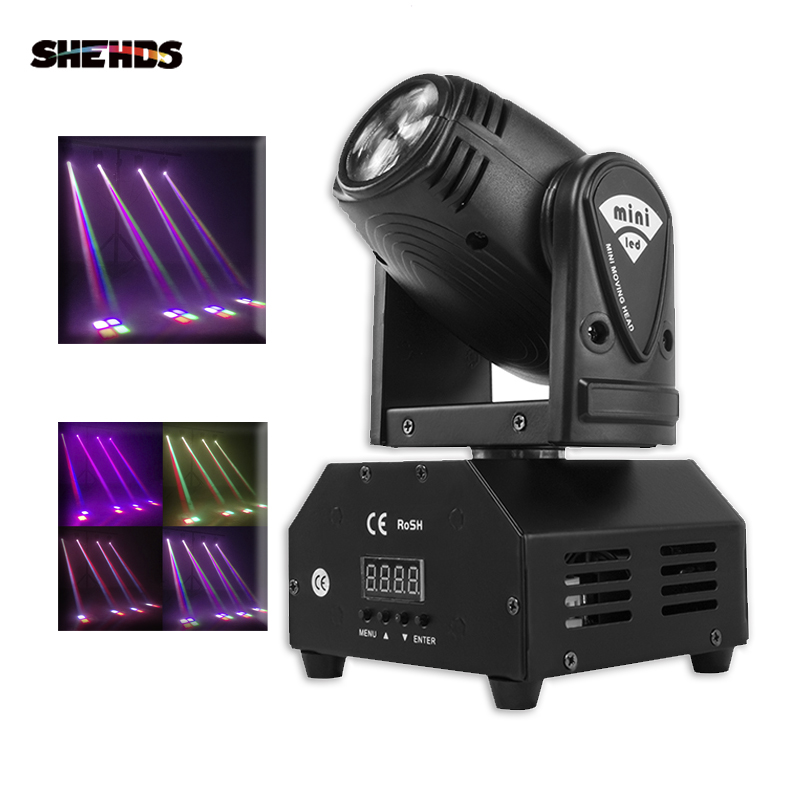 Mini RGBW LED 10W LED Beam Moving Head Light High Power 10Watt Quad Stroboscope LED Kuat Beam untuk Pesta Disko DJ Light