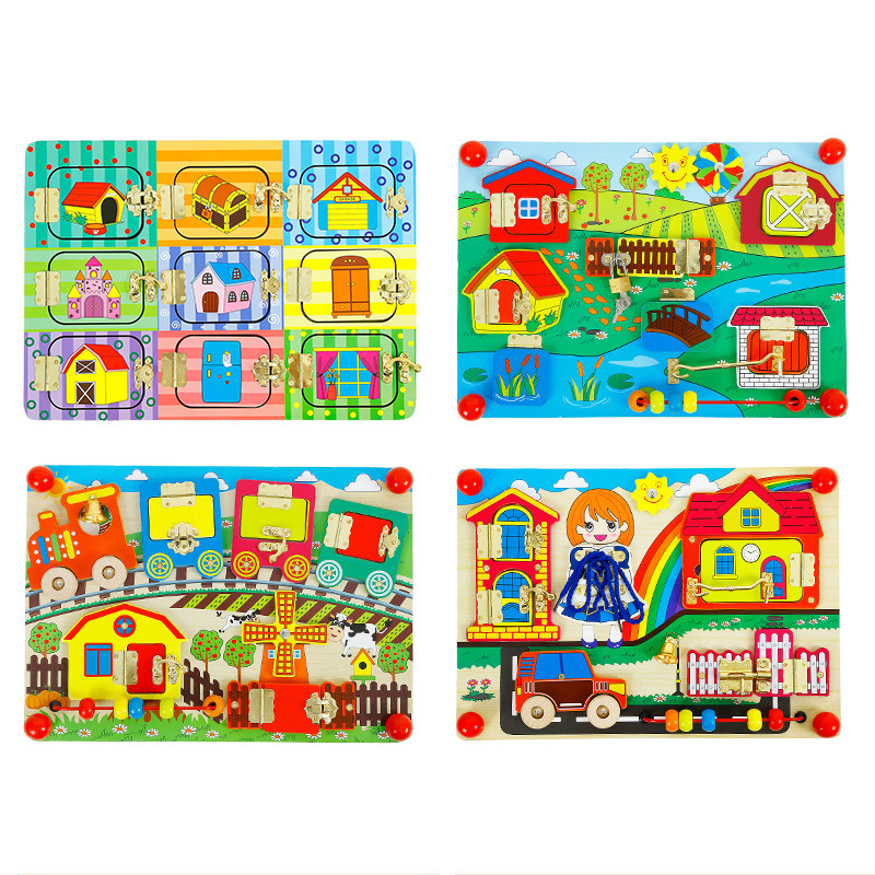 Montessori Wooden Toys For Children's Early Education Toy Unlock Jigsaw Puzzle STEM Interesting Learning Interactive