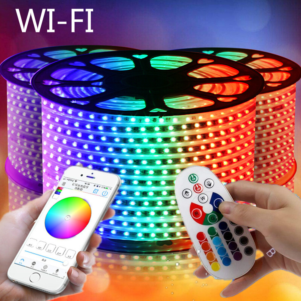 Tuya WIFI 220V led strip colorful lights ceiling light strips RGB flexible rgbw lamps 5050 SMD Waterproof Outdoor garden lamp