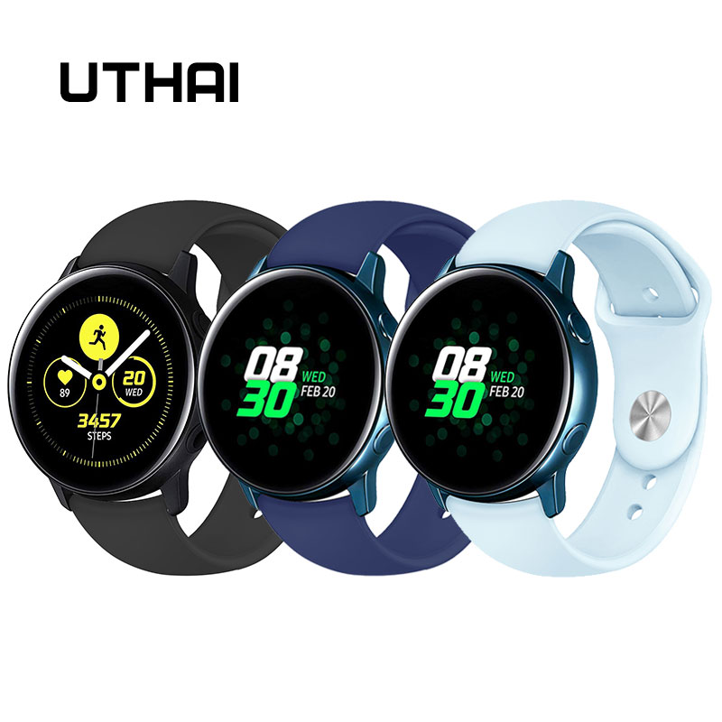 UTHAI G01 Silicone Strap For Samsung Gear Watch 20/22mm Sport Rubber Watchband Suitable Flat Interfaces Wristwatch 20mm 22mm