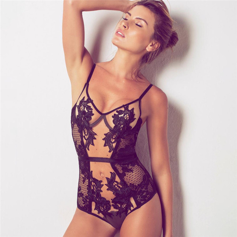 Sexy Black Lace Floral Embroidery Bodycon Bodysuit for Women Corset V Neck Top Transparent Mesh Charming Overalls Body Jumpsuit