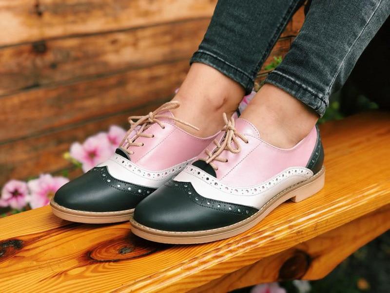 Plus Size 34-43 Women Oxfords Flats Shoes Vintage Color Block Brogues Shoes Woman British Carved Laces Student Lady Oxford Shoes (8)