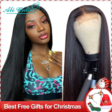 Ali Grace Hair Brazilian Straight Lace Closure Wigs Pre Plucked Hairline with Baby Hair Human Hair 4x4 6x6 Closure Wigs
