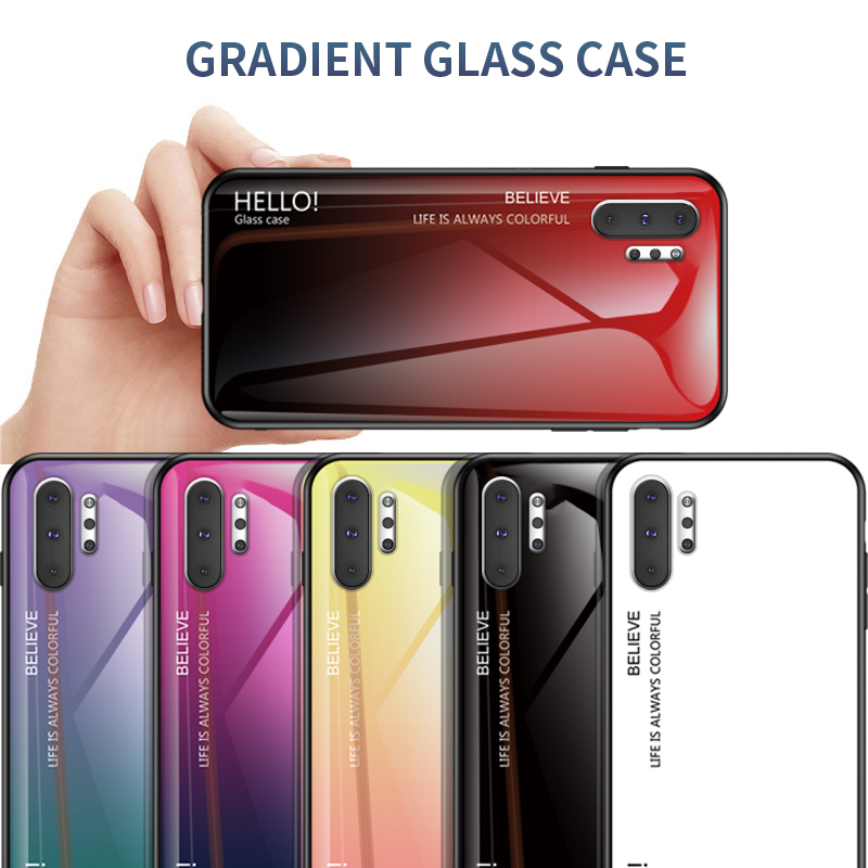 Gradient Tempered Glass Phone Case For Samsung Galaxy J8 J7 J6 J5 J4 J3 J2 A9 A8 A7 A6 A5 Prime Plus 2017 2018 Back Cover Case image