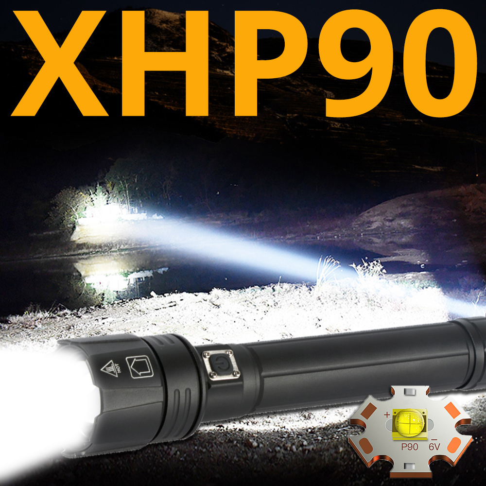 90000LM Powerful Led <font><b>Flashlight</b></font> XHP90 <font><b>flashlight</b></font> <font><b>USB</b></font> charging Zoom led torch lanter 2*26650 battery For Camping cycling Lamp image