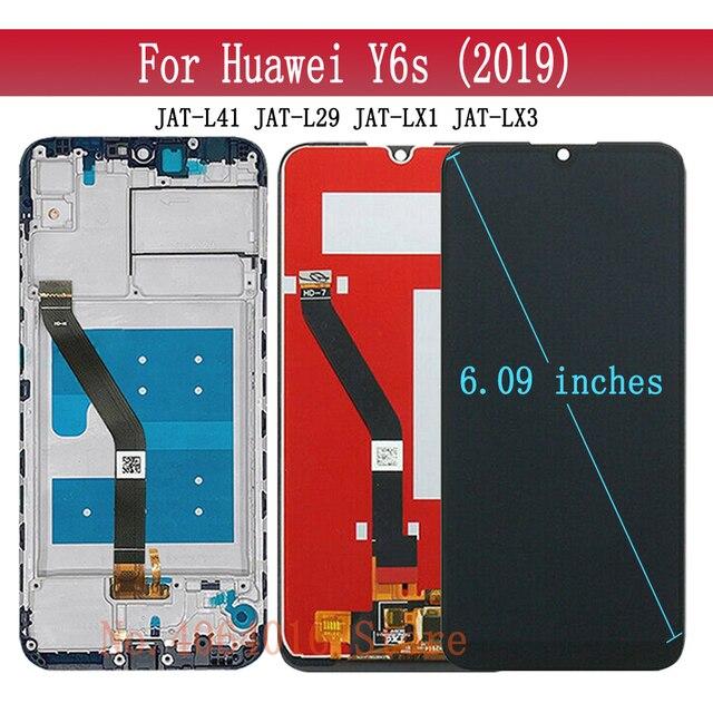 6.09 Assembly Digitizer החלפת תצוגה עבור Huawei Y6s 2019 LCD JAT L29 JAT L41 JAT LX1 JAT LX3 מגע מסך מסגרת זכוכית