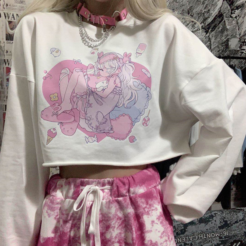 Misaky Autumn Casual Colorblock Cute Lazy Cat Print Long Sleeve Cropped Pullover Sweatshirt Girls Hoodie