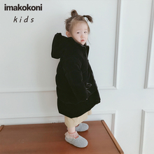 Original children's clothing black hooded down jacket imakokoni cute thick mid-length coat girls winter 0155