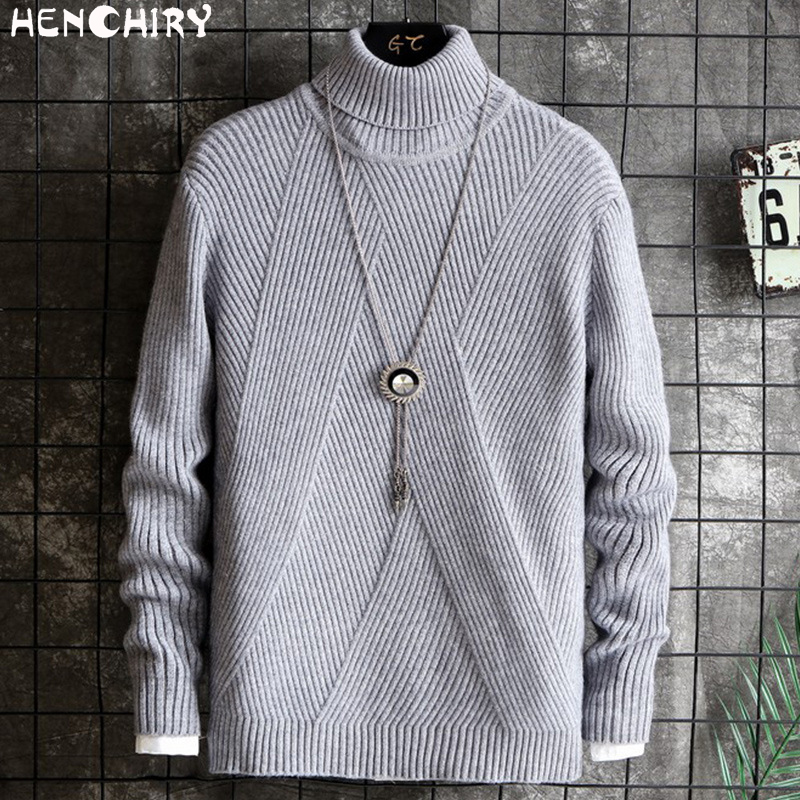 HENCHIRY Oversize Men'S Sweater 2019 Sweaters For Men Sweater Men's Twill Casual Autumn Winter Men's Fashion Turtleneck Uyuk Man