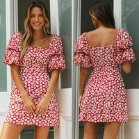 Summer Women Wrap Boho Print Dress