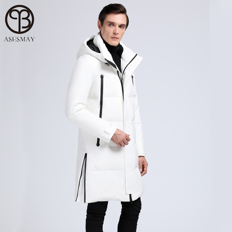 2019 brand clothing men winter coat white duck down jacket warm long casual parkas polyester windbreaker tracksuits outerwear