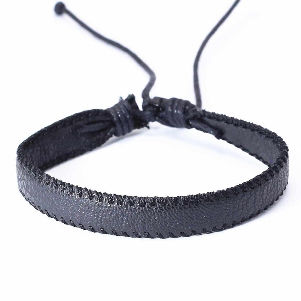 Панк модный Бохо черный кожаный браслет Мужчины переплетение с узором мужские браслеты для женщин украшения Pulsera Hombre Erkek Bileklik Bijoux