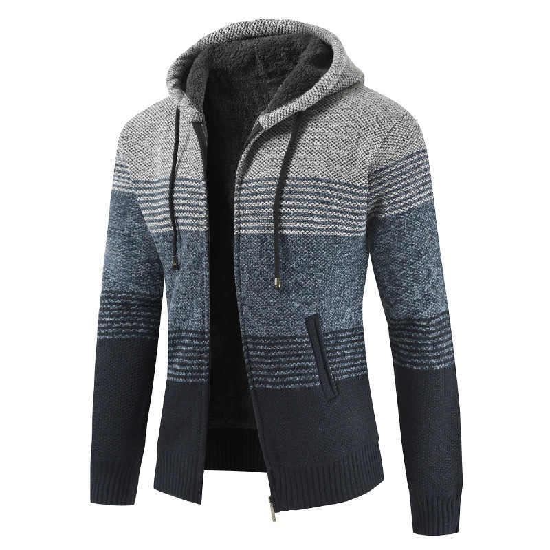 남자 2020 봄 가을 망 후드 스트라이프 코트 두꺼운 지퍼 울 스웨터 카디건 점퍼 남성 J6T868