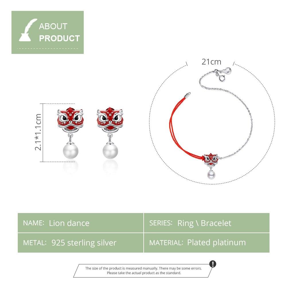 Image 2 - WOSTU Real 925 Sterling Silver Chiness Lion Dance Jewelry Set Red Enamel Bracelet & Stud Earrings Fashion Jewelry Gift 2pcs/SetJewelry Sets   -