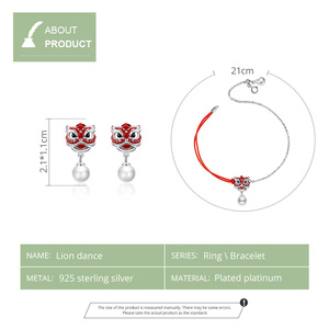 Image 2 - WOSTU Real 925 Sterling Silver Chiness Lion Dance Jewelry Set Red Enamel Bracelet & Stud Earrings Fashion Jewelry Gift 2pcs/Set