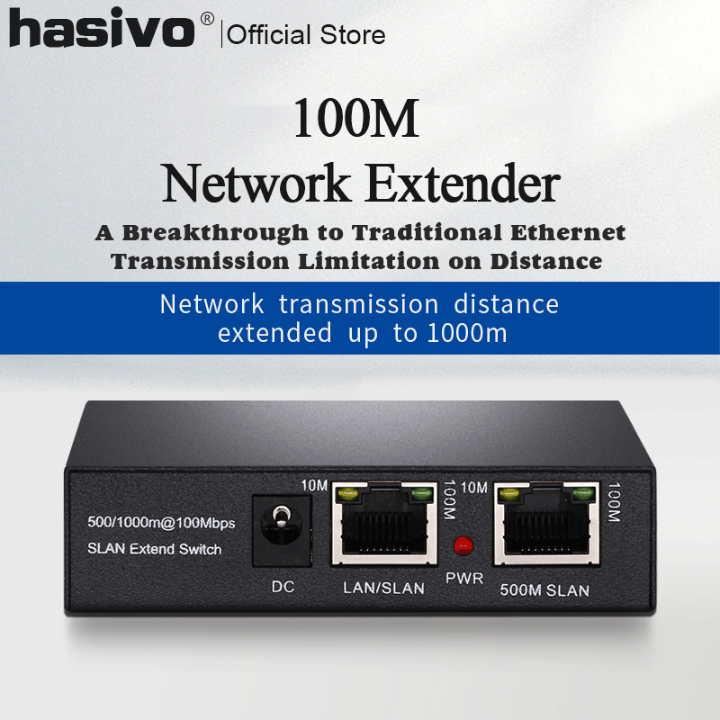 One pair PoE Network Ethernet <font><b>Switch</b></font> PoE Extender 500/<font><b>1000</b></font> meters 1 port 10/100M <font><b>Rj45</b></font> input 1 port 10/100M <font><b>Rj45</b></font> output image
