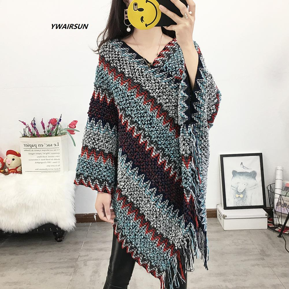 YWAIRSUN Spring and autumn models cloak shawl national wind tassel knit large size loose blouse cloak top lady shawls LUXURY