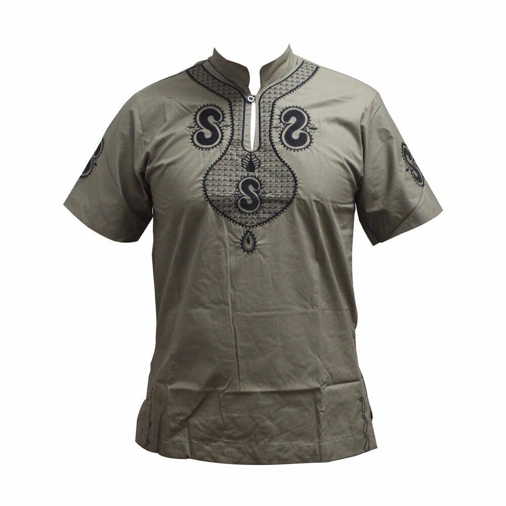 рубашка мужская Dashiki New Design Men's Embroidery Short Sleeve Best Colors Traditional Mali African Muslim T-shirt