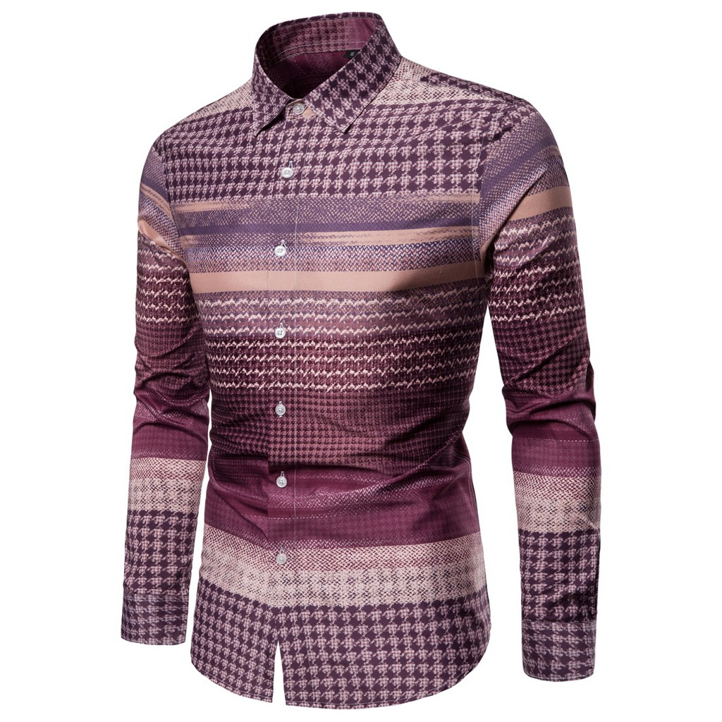 Are You Sure Not To Click In And See? Mens Ethnic Style Vintage Printing Slim Long Sleeve Dress Shirt Blouse Tops Dropshipping