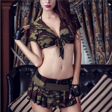 Women Army Costume Uniform Soldier Cosplay 8Pcs Sexy Role Play Military Tops and Skirt Camouflage Masquerade Fancy Outfits