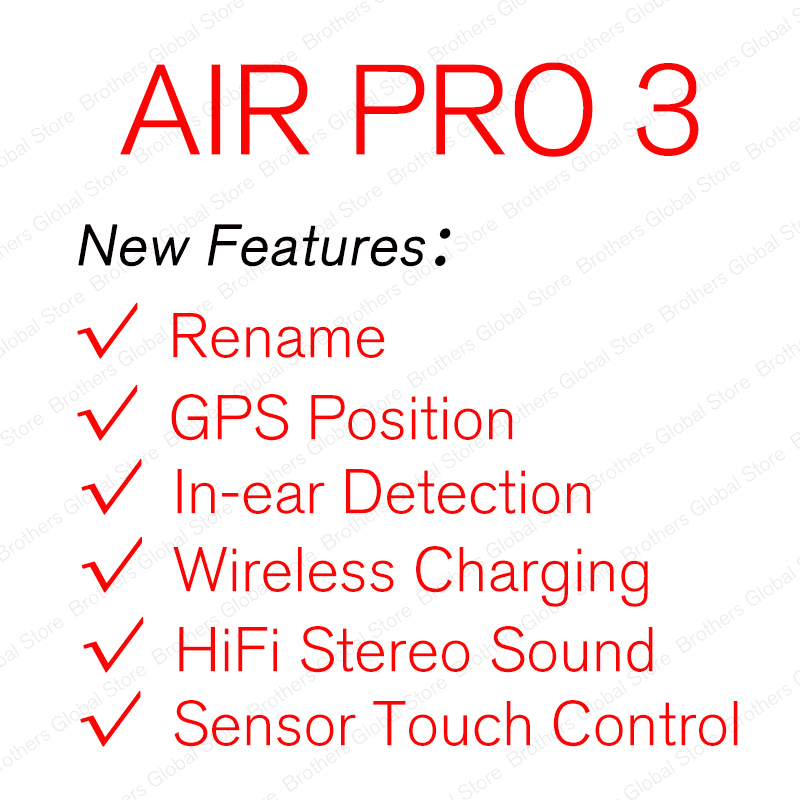Newest TWS Air Pro 3 Wireless Headphones Bluetooth Earphone Stereo Earbuds Headset Super Copy 1 1 Clone PK i12 i9000 max 2