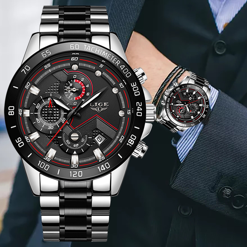 2020 New LIGE Military Watches Men Stainless Steel Band Waterproof Quartz Wristwatch Chronograph Clock Male Fashion Sports Watch