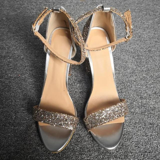 ASHIOFU New Arrival Women Block Heel Sandals Glitter Buckle Strap Summer Shoes Open-toe Sexy Party Prom Evening Fashion Sandals Uncategorized Fashion & Designs Ladies Shoes Women's Fashion
