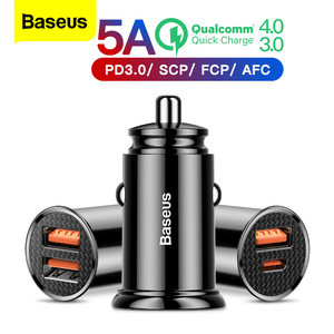 Baseus Quick Charge 4.0 3.0 USB Car Charger For iPhone Xiaomi Huawei QC4.0 QC3.0 QC Auto Type C PD Fast Car Mobile Phone Charger(China)