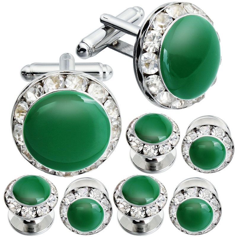 Classic Enamel Crystal Cuff Links Studs Tuxedo Shirt Jewelry Polished Mens Wedding Gift