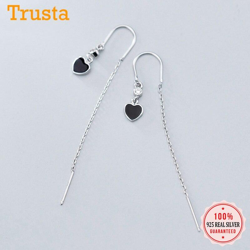 Trustdavis Genuine 925 Sterling Silver Minimalist Sweet Cute Black CZ Linked Ear Line For Women Girl Wedding Jewelry Gift DS2312