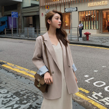 Korean Casual Ladies Blazer Stylish Solid Khaki Loose Suit Jacket Vintage Veste Blazer Office Women Blazer Spring Autumn MM60NXZ