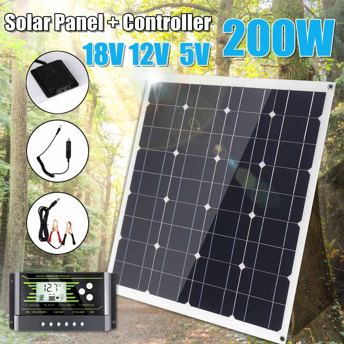 NEW <font><b>200W</b></font> <font><b>Solar</b></font> <font><b>Panel</b></font> 18V 5V Flexible MonoCrystalline Silicon With 10/20/30A Controller for Outdoor <font><b>Solar</b></font> Battery image