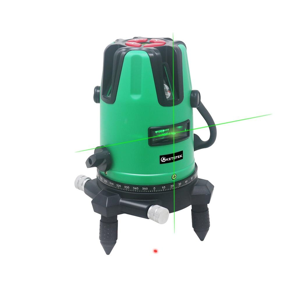 KETOTEK Laser Level 5 Lines 360 Degrees Rotary 532nm Self Leveling Vertical  amp  Horizontal Cross Line Laser Level Tools