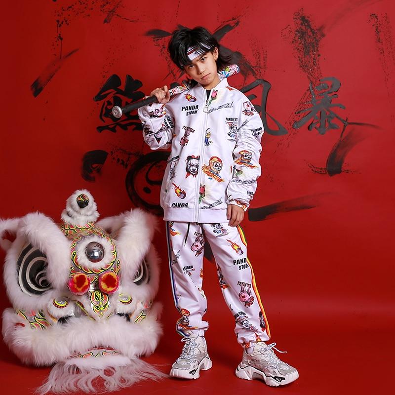 2020 Children White Graffiti Hip-hop Suit Jazz Dance Costumes For Girls Boys Hip Hop Ballroom Dance Performance Clothing DQS3821