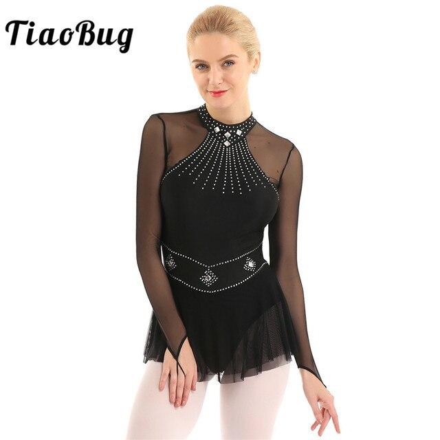TiaoBug מבריק Rhinestones ארוך שרוול רשת אחוי בלט התעמלות בגד גוף נשים איור החלקה שמלת ביצועי ריקוד תלבושות