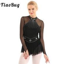 TiaoBug Shiny Strass Lange Hülse Mesh Splice Ballett Gymnastik Trikot Frauen Eiskunstlauf Kleid Leistung Dance Kostüm