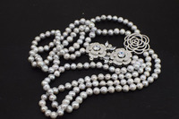 2rows freshwater pearl gray round 8 9mm necklace +red zircon 24 26inch FPPJ wholesale beads nature