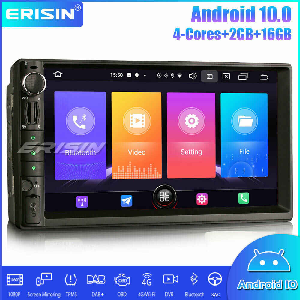 Erisin Mobil Stereo Multimedia Player 2 DIN Universal Auto Radio DAB + Android 10.0 DSP Carplay GPS Bluetooth