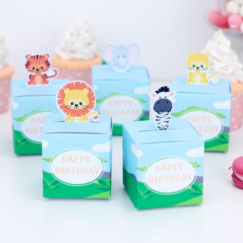 Safari Dekoration Tier Geschenk Boxen für Candy Leckereien Dschungel Geburtstag Party Geschenk Boxen für Candy Behandeln Box Glücklich Favor Baby