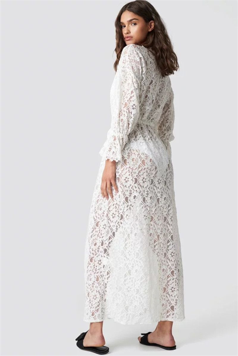 Europe And America Lace And Lace Waist Pull-belt Beach Cover-up Holiday Long Skirts Bikini Outer Blouse Sun-resistant Cardigan
