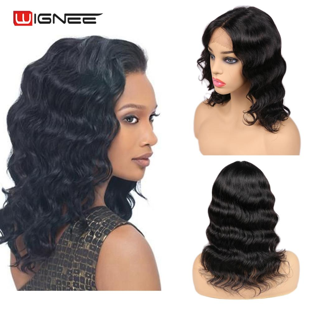 Wignee Lace Part Loose Wave Short Human Hair Wigs For Black Women Brazilian Remy Hair Glueless Middle Part Swiss Lace Human Wigs